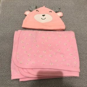 Baby Girl Hat and Blanket